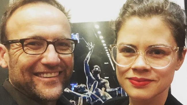 "Federal Greens MP Adam Bandt and the picture of his ""sexy"" wife Claudia Perkins."