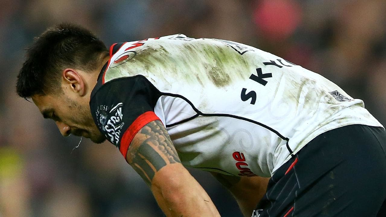 Shaun Johnson struggles to come to terms with the Warriors' elimination final loss. (Photo by Matt Blyth/Getty Images)