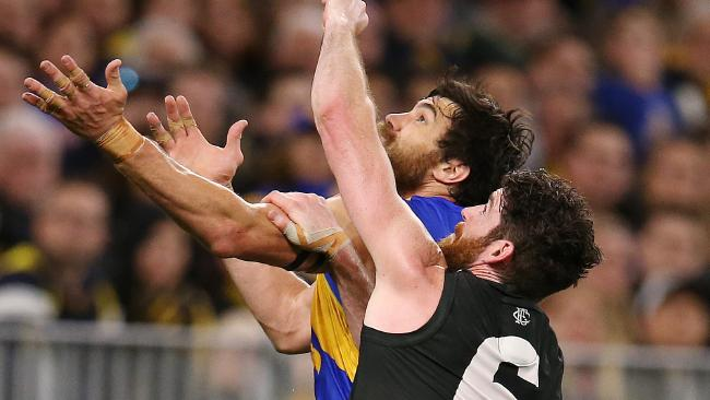 Tyson Goldsack performed gallantly on Eagles forward Josh Kennedy. Picture: Michael Klein