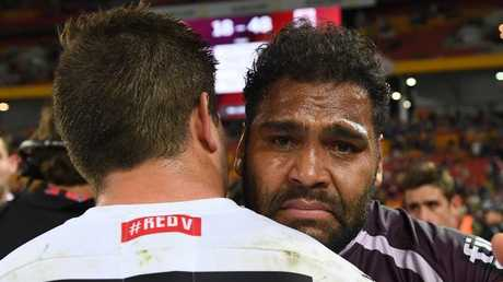 Sam Thaiday gets emotional as he bows out of the Broncos. Picture: AAP Image/Dave Hunt