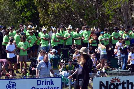 Tweed Coast Raiders fans take up position at Kingsford Smith Park before the grand final.