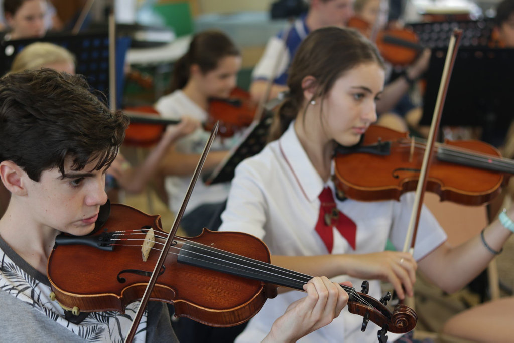 Members from the Toowoomba Regional Youth Orchestra Cody Gray and Elizabeth Hudson-James  rehearse for the