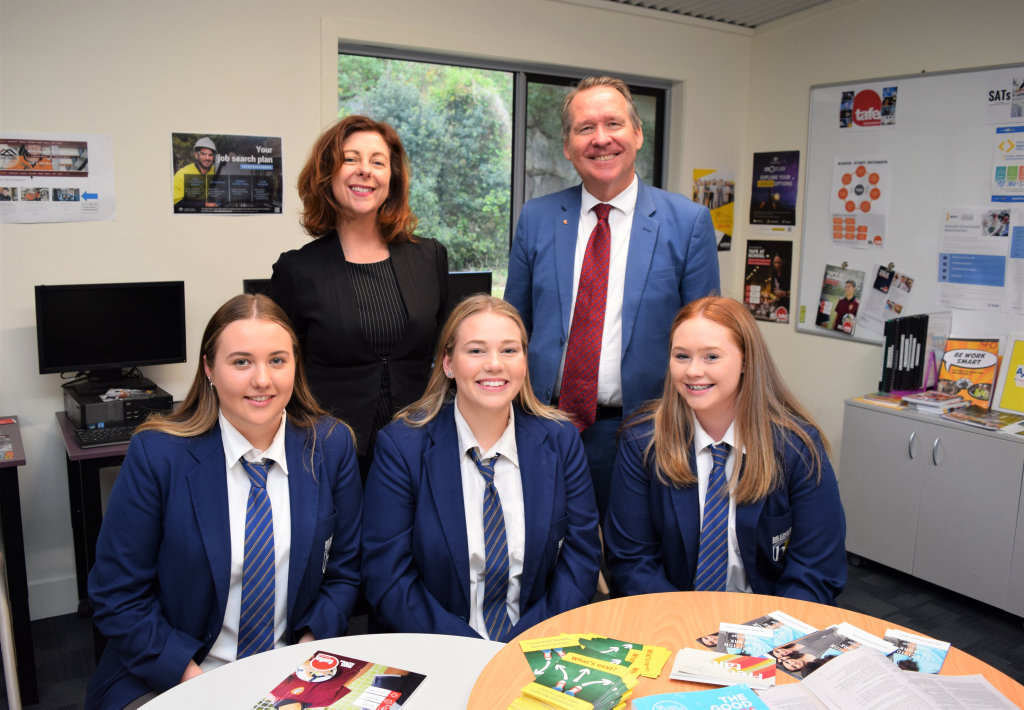 Image for sale: Bremer State High school students Maddison Hoffman, Anne-Marie Reinke and Kasey Binns are visited by state MP's Jennifer Howard and Jim Marsh at the free Tafe for Year 12 launch.