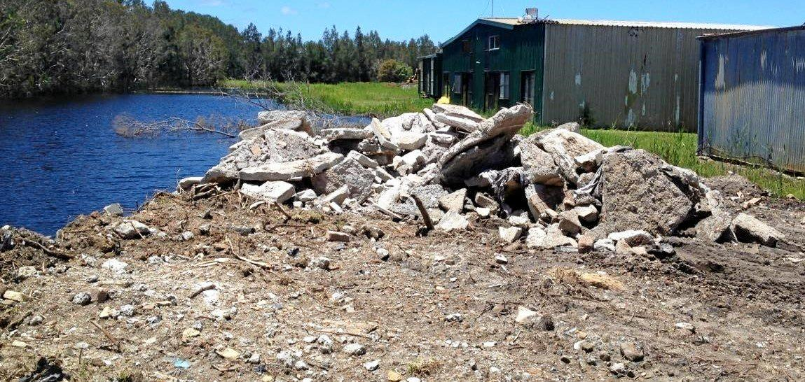 Some the rubble council claims has been dumped at the Noosa airfield.