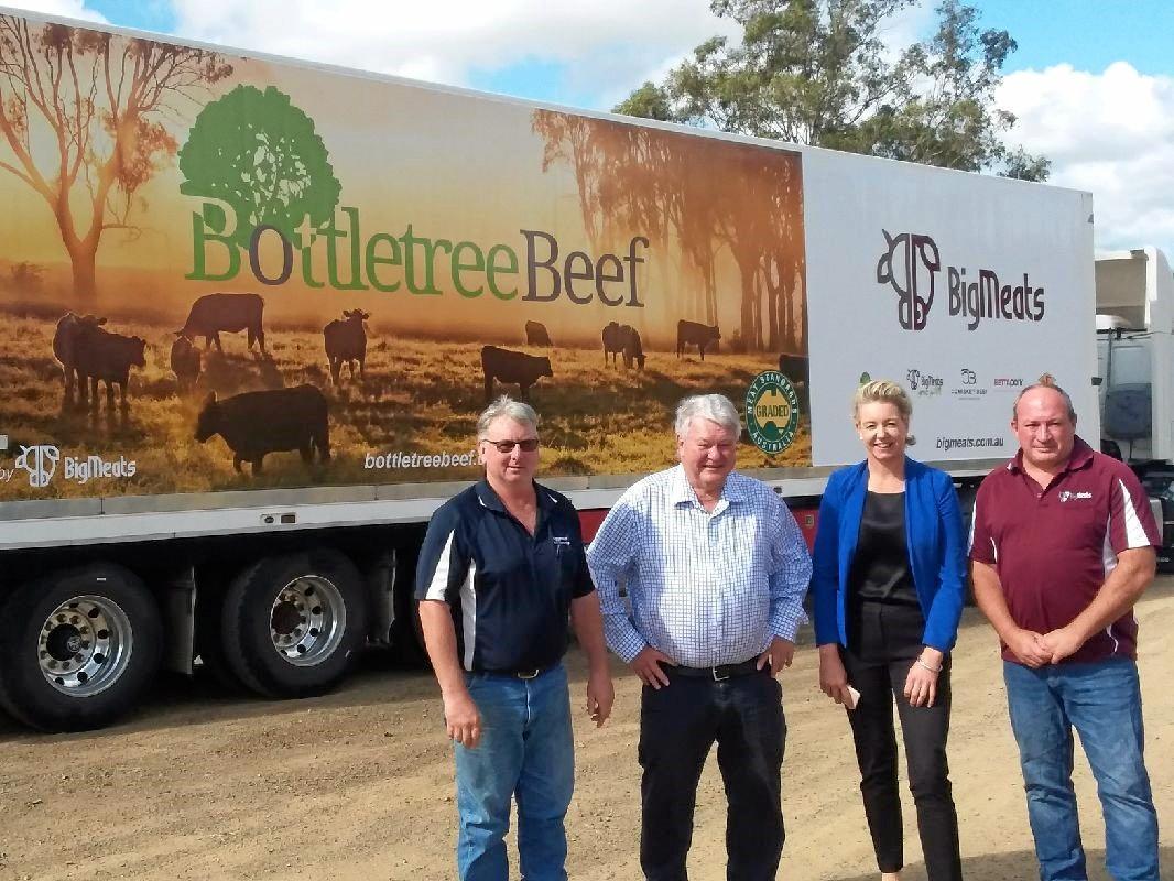 Flynn MP Ken O'Dowd and Senator Bridget McKenzie at the Biggenden Meatworks.