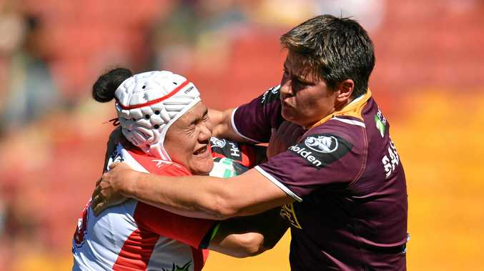 BIG AMBITIONS: Heather Ballinger (right) during Brisbane's round one NRLW defeat of St George Illawarra.