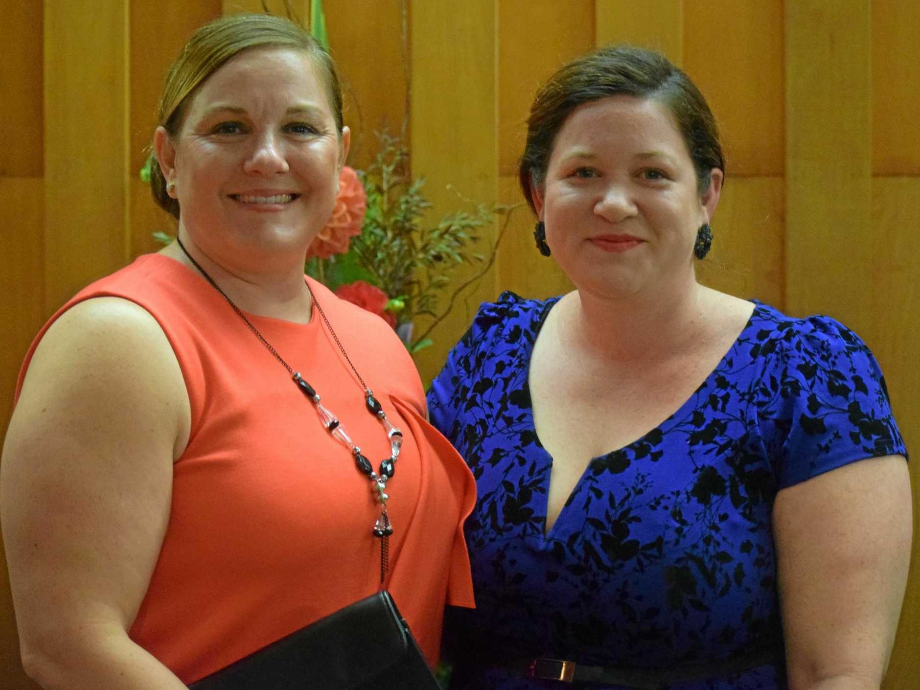 GLAMOUROUS NIGHT: Caroline Vielle and Jess Warwick from The Gympie Times enjoying the 2018 Business Awards at the Civic Centre on Saturday night.