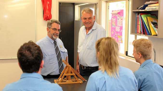 BACK TO SCHOOL: Emerald Christian College principal Graeme Johnston and MP Lachlan Millar.