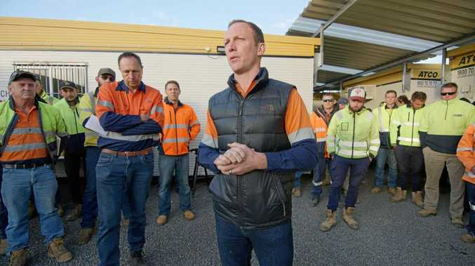 Former Rugby League star, Darren Lockyer attends the AGL Coopers Gap Wind Farm