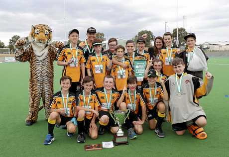 TIGERS ROAR: The winning Easts' D-Grade boys hockey team after their grand final win at the Ipswich Hockey Complex.
