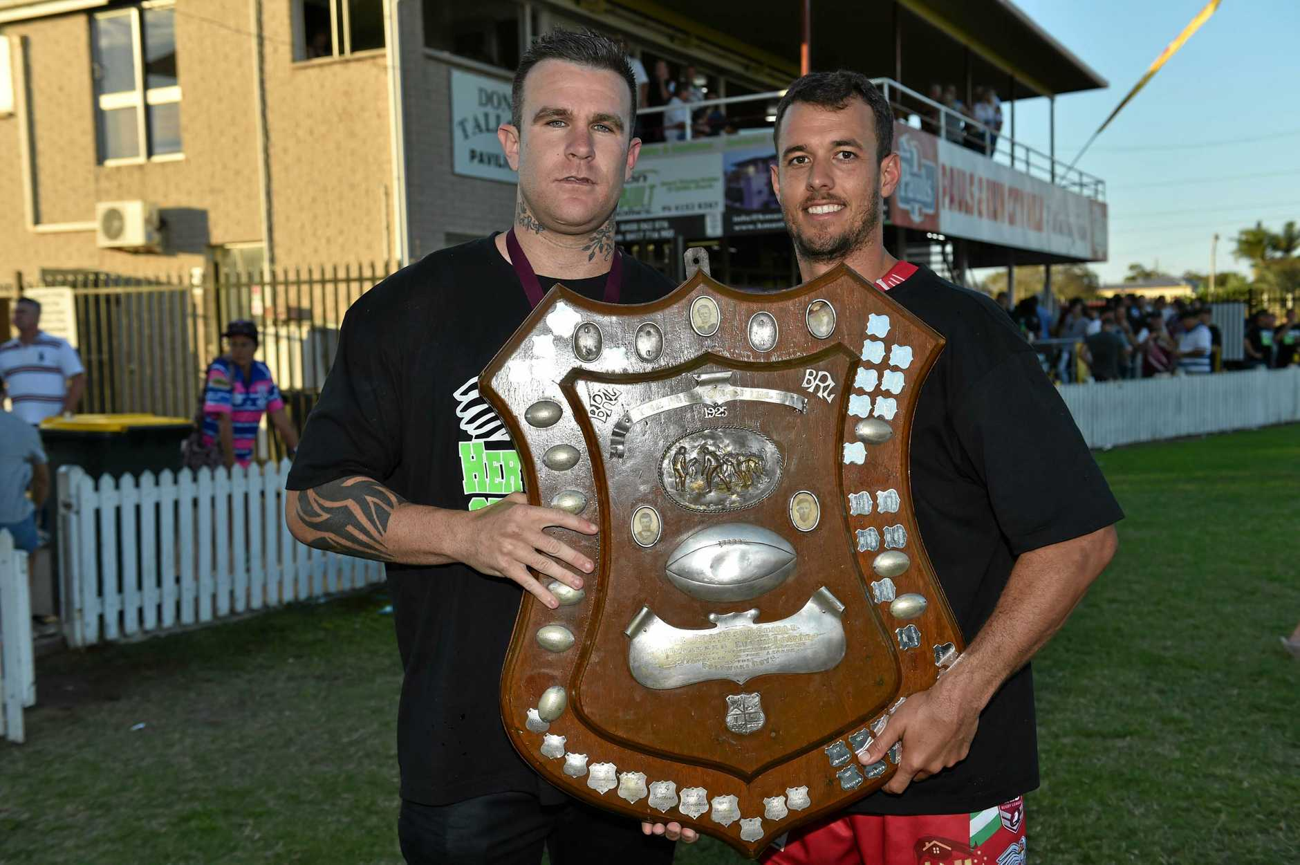 Seagulls coach Tye Ingebrigtsen and captain Clinton Horne with the shield. Bundaberg Rugby League grand final: Hervey Bay Seagulls v The Waves Tigers at Salter Oval, Bundaberg.