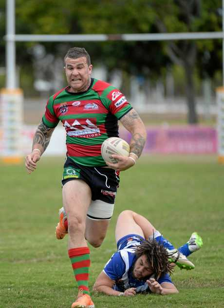NO STOPPING: Tye Ingebrigtsen powers down the field for Hervey Bay Seagulls in a Bundaberg Rugby League game at Salters Oval in 2016.