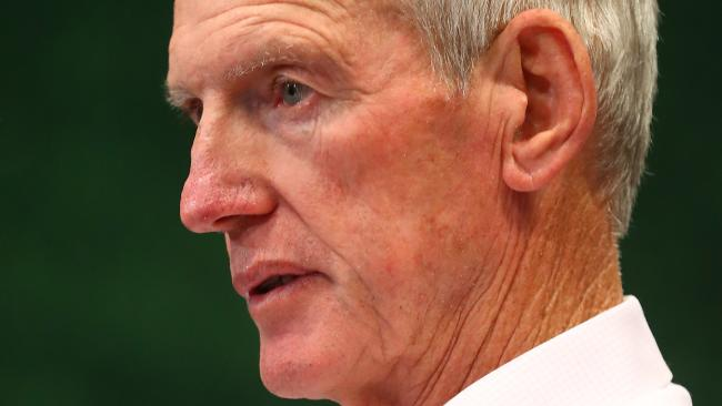 BRISBANE, AUSTRALIA - SEPTEMBER 09: Broncos coach Wayne Bennett speaks to media after the NRL Elimination Final match between the Brisbane Broncos and the St George Illawarra Dragons at Suncorp Stadium on September 9, 2018 in Brisbane, Australia. (Photo by Chris Hyde/Getty Images)