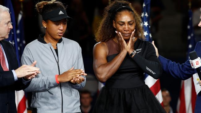Naomi Osaka and Serena Williams after the US Open women's singles final. Julian Finney/Getty Images
