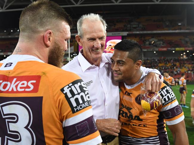 A rare smile from Wayne Bennett after the Round 25 thrashing of Manly.