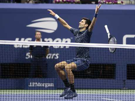 Novak Djokovic, of Serbia, celebrates after defeating Juan Martin del Potro, of Argentina. Picture: AP Photo