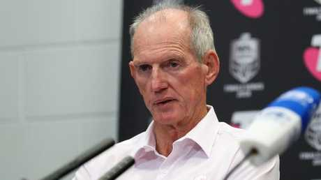 Broncos coach Wayne Bennett during the post-match press conference. Photo: Liam Kidston.