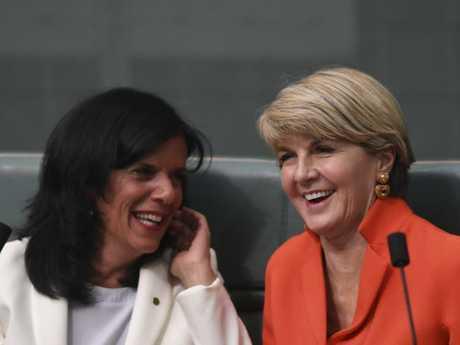 Former Australian Foreign Minister Julie Bishop speaks to Liberal backbencher Julia Banks. Picture: AAP