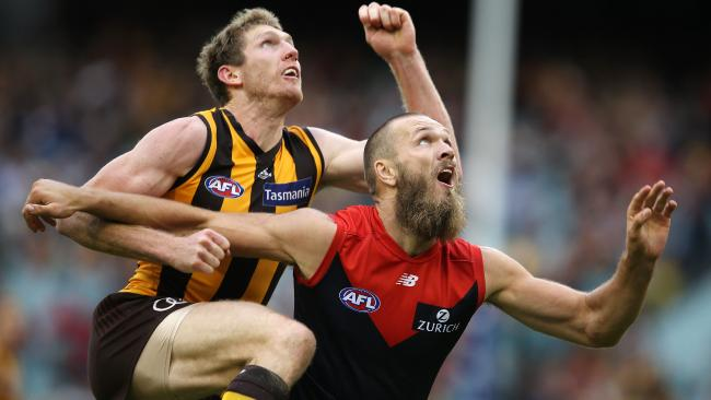Ben McEvoy climbs over Max Gawn. Picture: Michael Klein