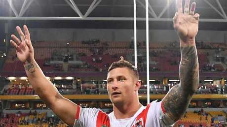 Tariq Sims celebrates the Dragons' win. Photo: AAP
