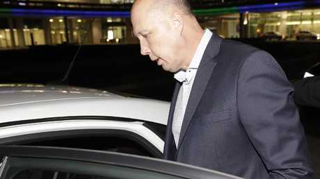 Peter Dutton arriving at Canberra airport last night. Pic: Sean Davey.