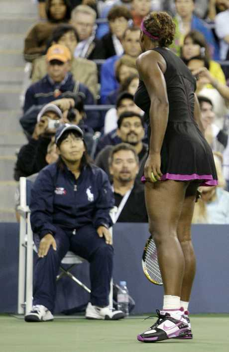 A Sept. 12, 2009, file photo of Serena Williams arguing with line judge Shino Tsurubuchi over a foot fault call during her match against Kim Clijsters at the US Open. Picture: AP/Darron Cummings