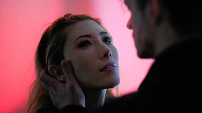 Dichen Lachman and Joel Kinnaman in a scene from Altered Carbon.