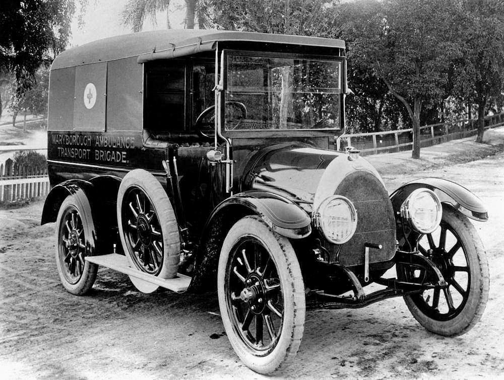 A Maryborough ambulance vehicle in 1920.