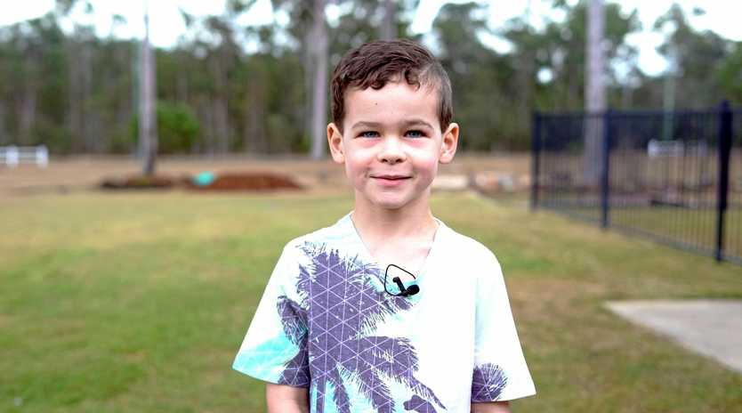 CLOSE CALL: Maddox Porter's left hand was severely injured in an accident on his family's property in Gatton on Easter Sunday.