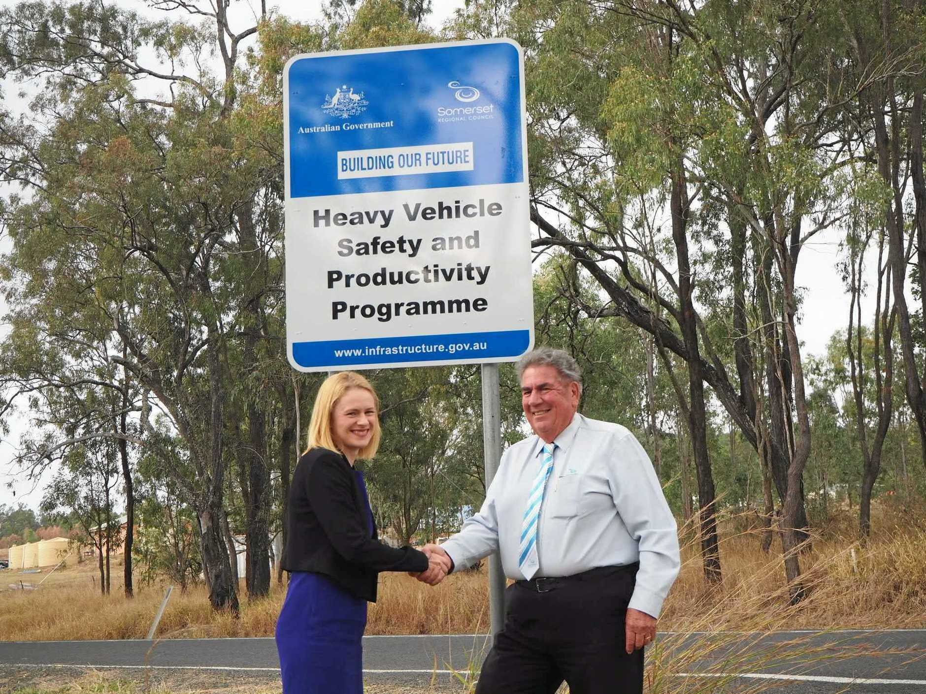 WAY FORWARD: Senator Amanda Stoker and Somerset Mayor Graeme Lehmann at the Gregors Creek Road upgrade.