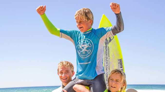 BRIGHT FUTURE: Marlon Harrison, 14, winning the double at Parko's Grom Stomp in the under-16 and under-14 boys.