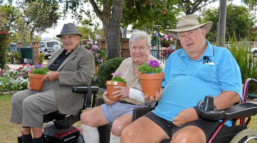 GREEN TRIO: Tabeel aged care residents Allan Goos, Brian Harvey and Jeff Zahnow with their prizes from the gardening competition.