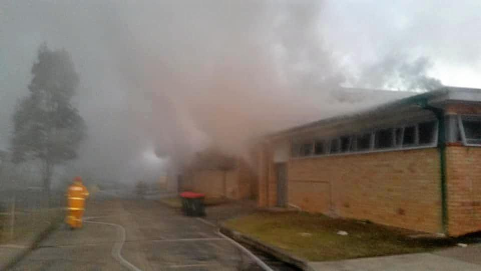 Fire crews have been called to the high school at Casino to battle a blaze in the canteen.