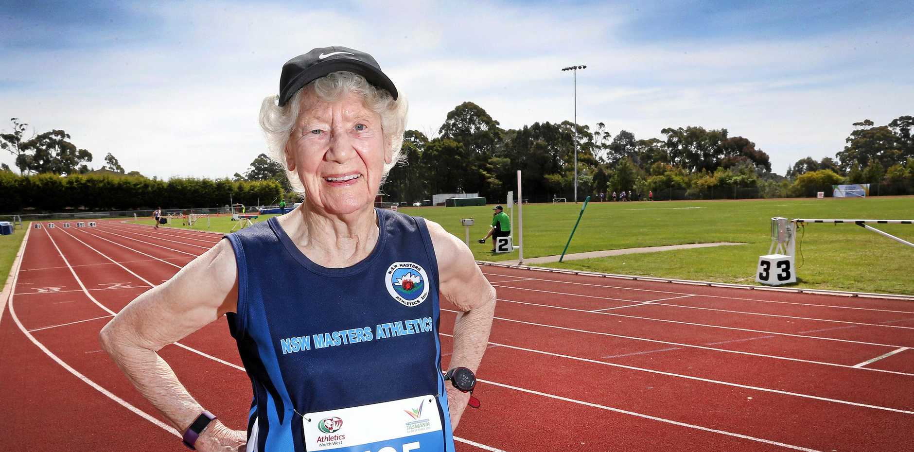 Heather Lee, 91 of NSW, after setting a world record in the 3000m during the Australian Masters Games 2017. PICTURE CHRIS KIDD