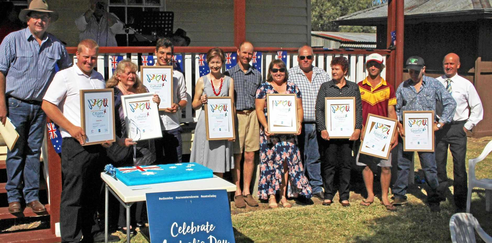 WELCOME: Residents receiving their official awards at Australia Day celebrations at Athlone Cottage in Jandowae this year.