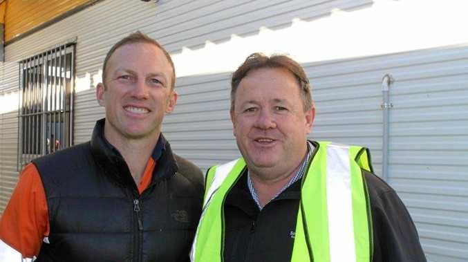ON SITE: Darren Lockyer and Gavin Jones on site at the Coopers Gap windfarm.