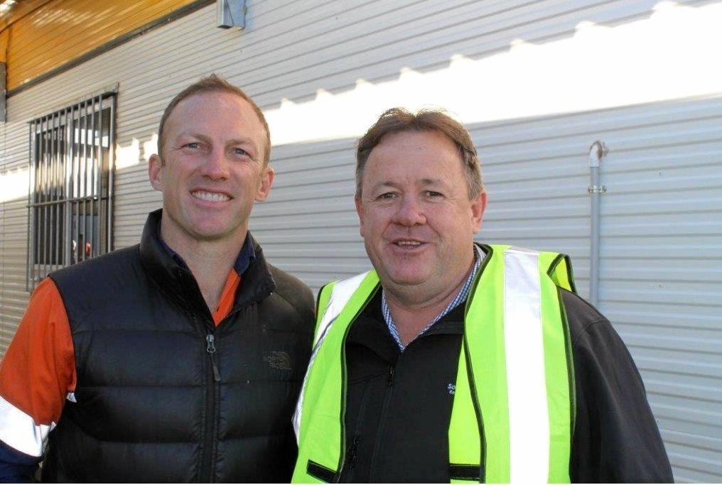 ON SITE: Darren Lockyer and Gavin Jones on site at the Coopers Gap windfarm.