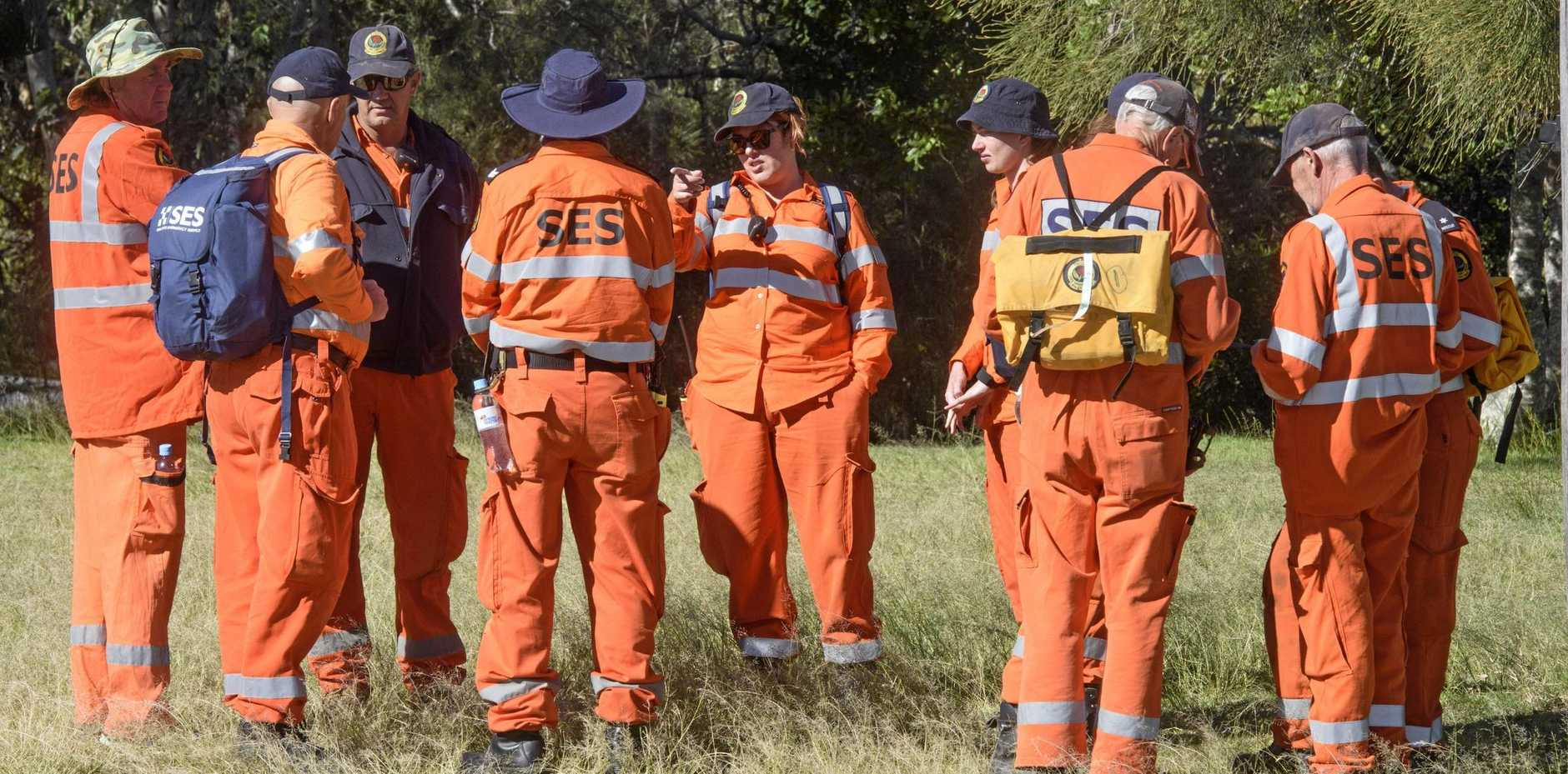 Police and SES volunteers joined forces to search the area around Sandon for a missing fisherman.