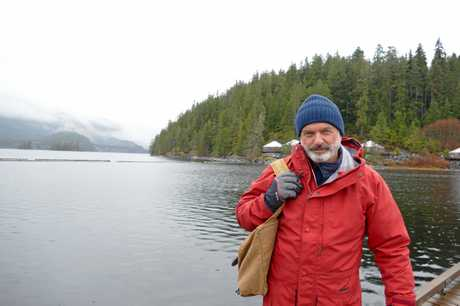 Sam Neill at Moutcha Bay Wharf in Nootka Sound, Canada in a scene from the TV series The Pacific: In The Wake of Captain Cook. Supplied by Foxtel.
