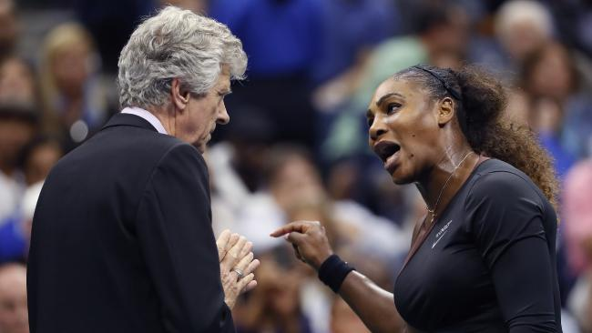 Serena Williams argued with umpire Carlos Ramos during the women's finals of the US Open. (Pic: Adam Hunger/AP)