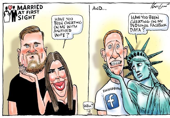 Mark Knight cartoon on Facebook data mining.