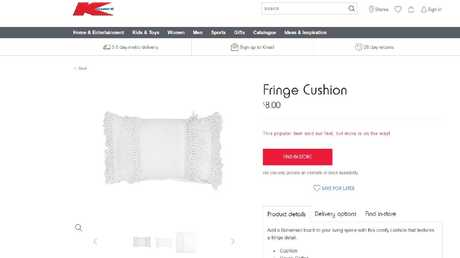 Kmart's fringe cushion has been a sellout for weeks on end. Picture: Kmart