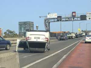 Car flips over on Harbour Bridge