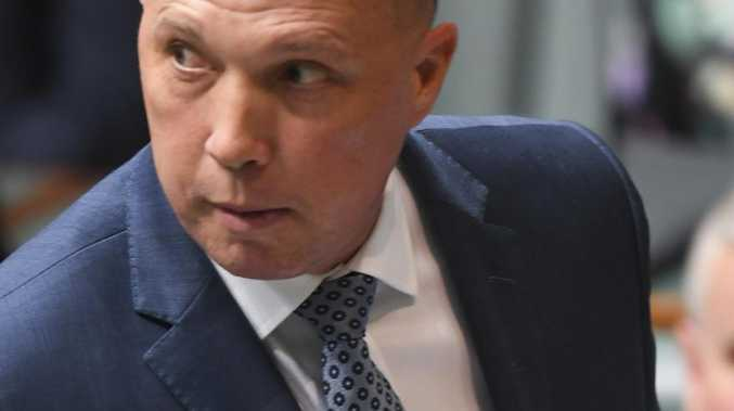 Peter Dutton in a fiery Question Time today. Pic: AAP
