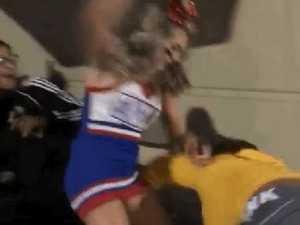 Teenage cheerleader beats up bully