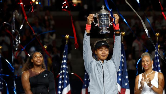 Despite Serena Williams' bullying, Naomi Osaka won the championship trophy and the Women's Singles finals match of the US Open. (Pic: Julian Finney/Getty/AFP)