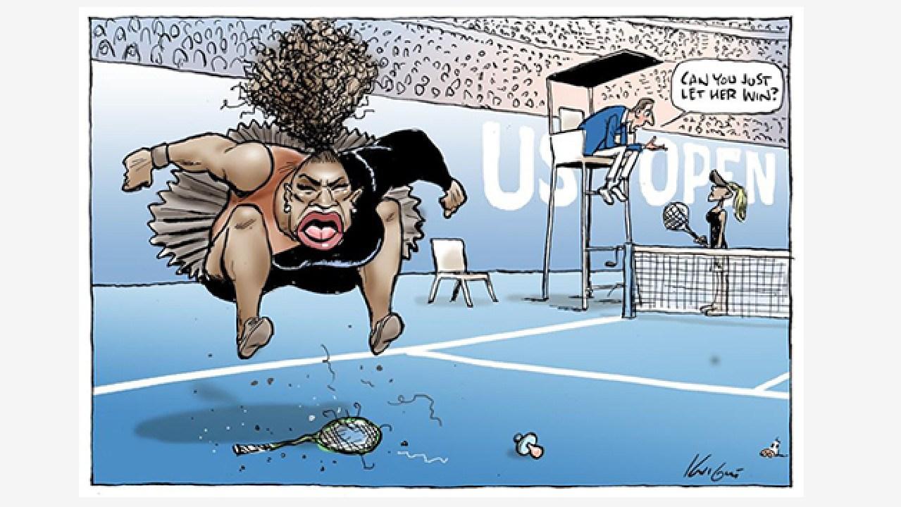 Mark Knight's impression of Serena Williams' temper tantrum at the US Open.