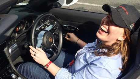 Amelia Hungerford at Mt Cotton Driver training centre, driving a Porsche.