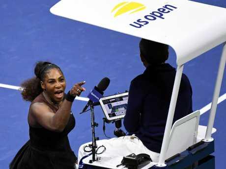 Serena Williams yells at chair umpire Carlos Ramos.