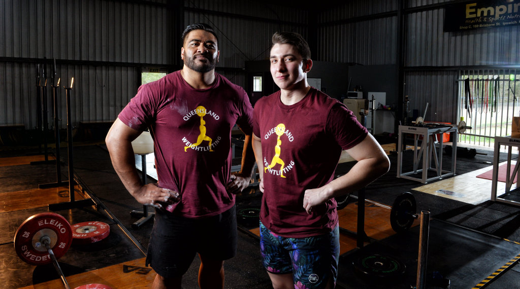 Image for sale: Jax Solofa and Braydan Fender are the Australian Weightlifting Federation senior and junior champions.